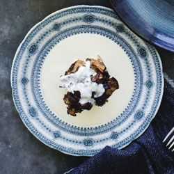 Chocolate bread & butter puddings with vanilla cream