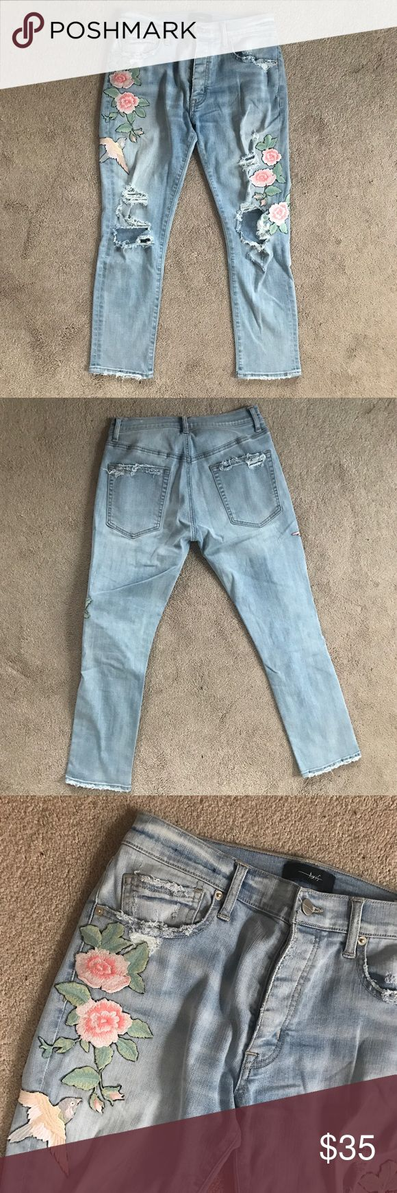 Rose Embroidered Distressed Jeans Light wash super stretch jeans featuring beautiful embroidery and distressed detailing. Revolve Clothing, Planet Blue, Free People, Urban Outfitters, Dolls Kill, Nasty Gal, ASOS, Nordstrom, Zara. Axis Jeans Ankle & Cropped
