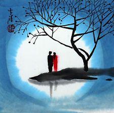 """Китайский небольшой дзен живопись любовник 6.7x6.7"""" традиционные акварельные кисти чернил арт"""