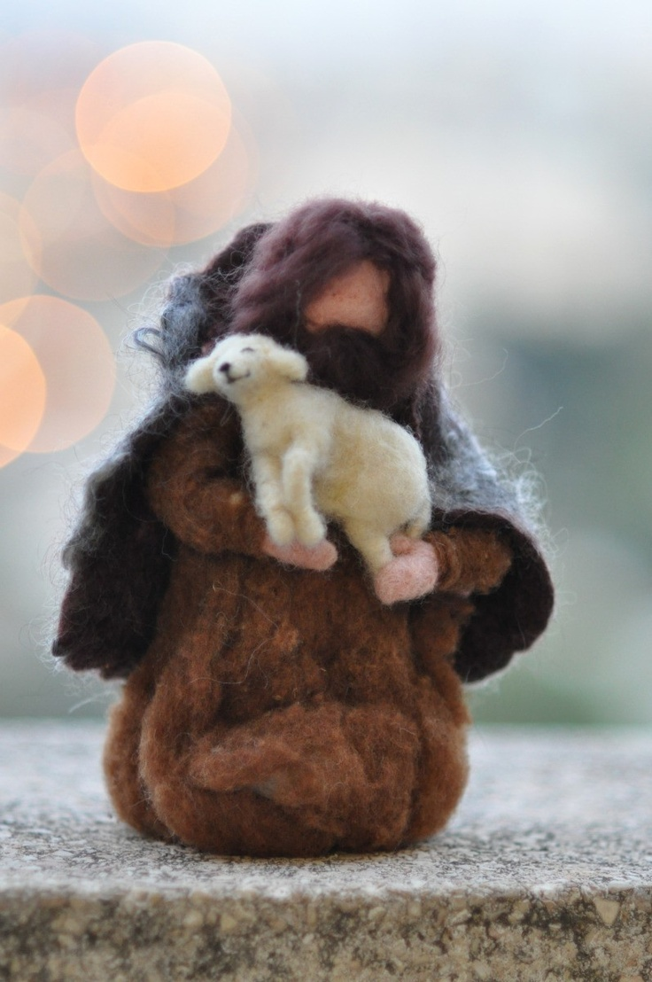 I'm His little ewe lamb! Needle felted-Nativity Set-Nativity-Waldof--Good shepherd--standing doll-needle felt by Daria Lvovsky. $58.00, via Etsy.