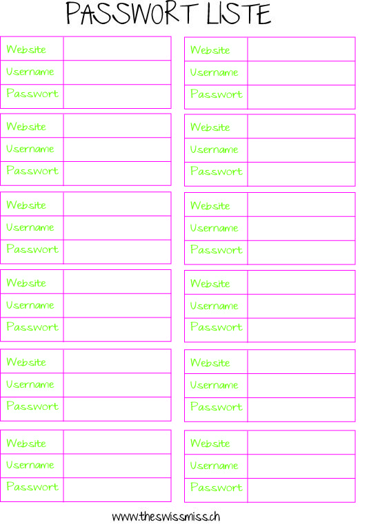 Passwort Liste als Printable