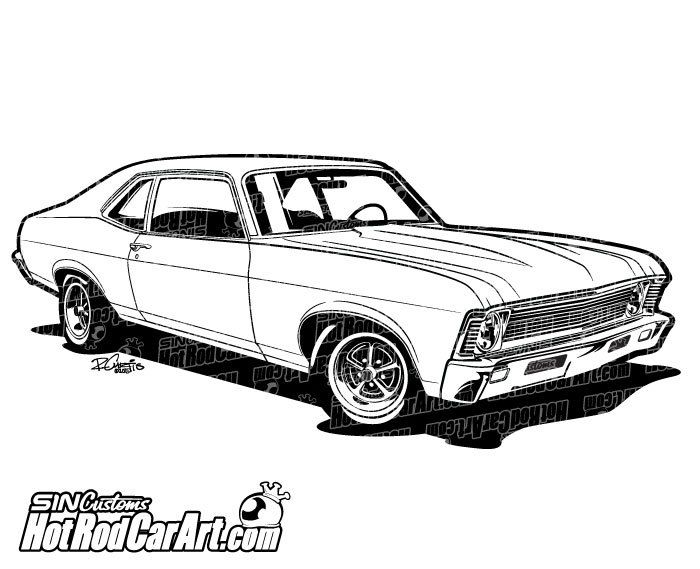 1969 Chevrolet Nova Muscle Car - Clip Art | Chevrolet ...