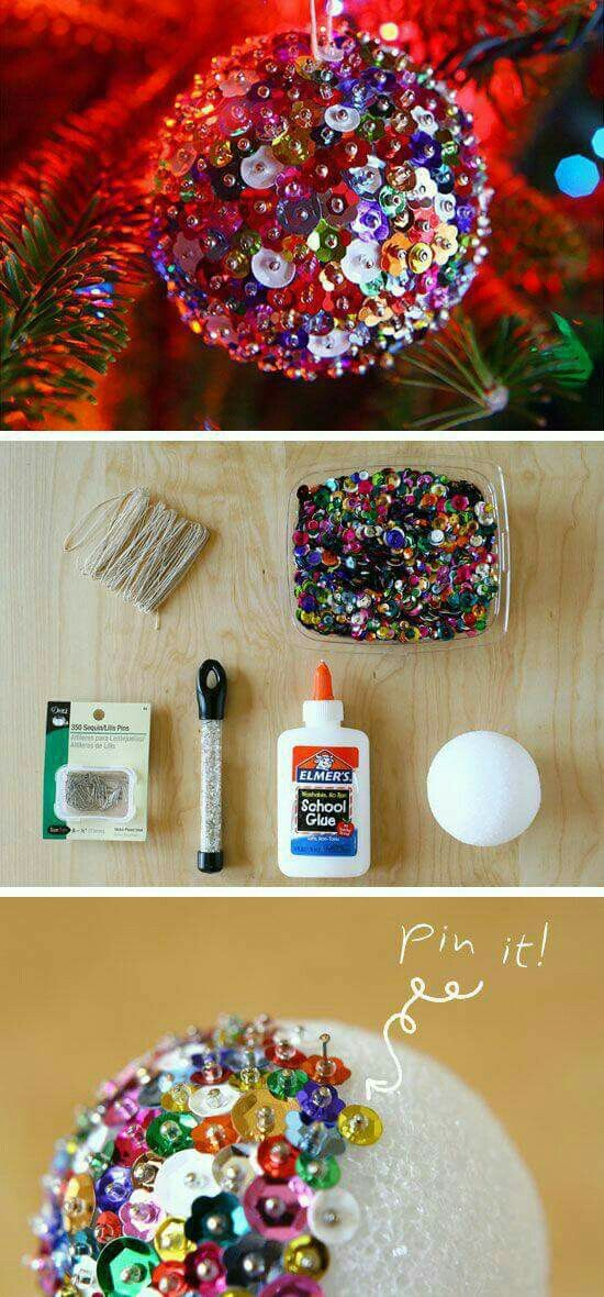 Colorful DIY Christmas Ornament made from sequins
