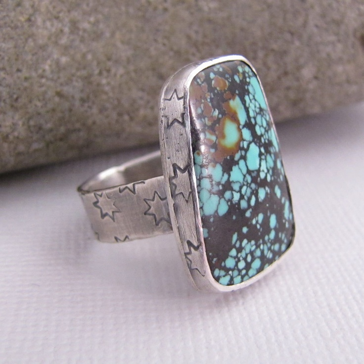 Shiny Star - Metalwork Oxidized Sterling Silver Turquoise Ring - Southwest Jewelry