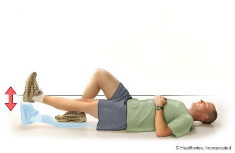 Straight-Leg Raise to the Front These straight-leg raises help you strengthen the muscles on top of your thigh and around your hip. Do 8 to 12 repetitions