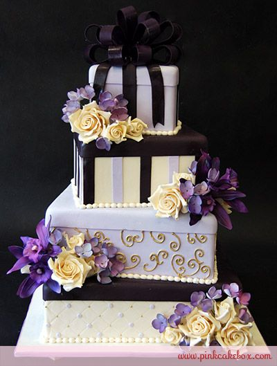 Purple Gift Box Wedding Cake by Pink Cake Box. Not usually into this type of cake but this one sure is pretty