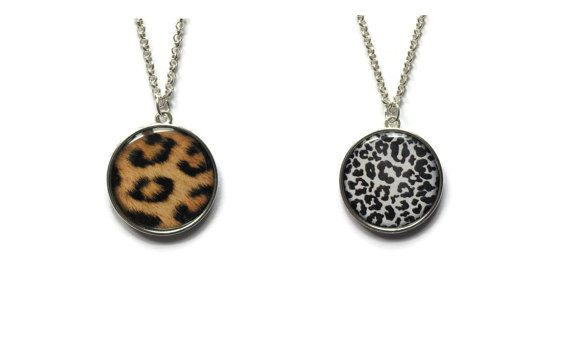 Animal print pendant - Double sided, Cheetah pendant, White Leopard pendant, animal print necklace
