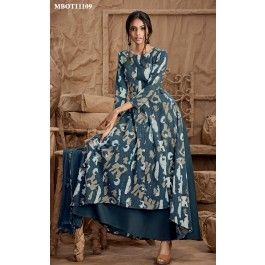 Indigo Floor Length Kurti This Indigo floor length kurti is an elegant, contemporary and utterly feminine. Indigo dye,kantha stitch juxtaposed with minimalism.This beautiful outfit is crafted in cotton and it comes with matching dupatta with border details.