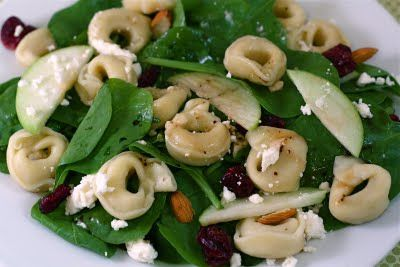 Spinach Salad with Tortellini, Dried Cranberries, Apples, Almonds, and Feta