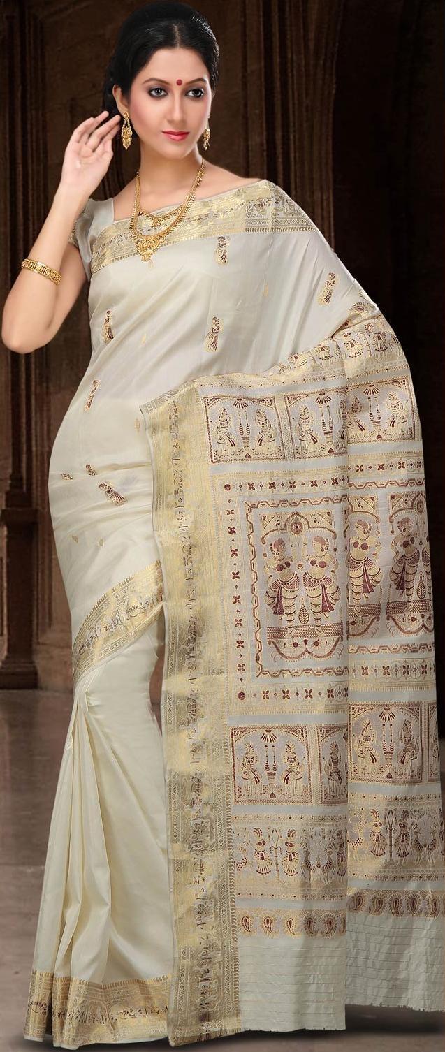 Light Cream Bengal Handloom Saurnarchuri silk sari