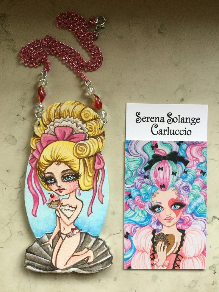 Collana Venere Marie Antoinette  ,pendente in legno intagliato dipinto con acrilici by Serena Solange Carluccio