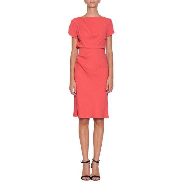 Giorgio Armani Viscose dress (129.095 RUB) ❤ liked on Polyvore featuring dresses, orange, midi dress, viscose dresses, midi day dresses, red dress and draped dress