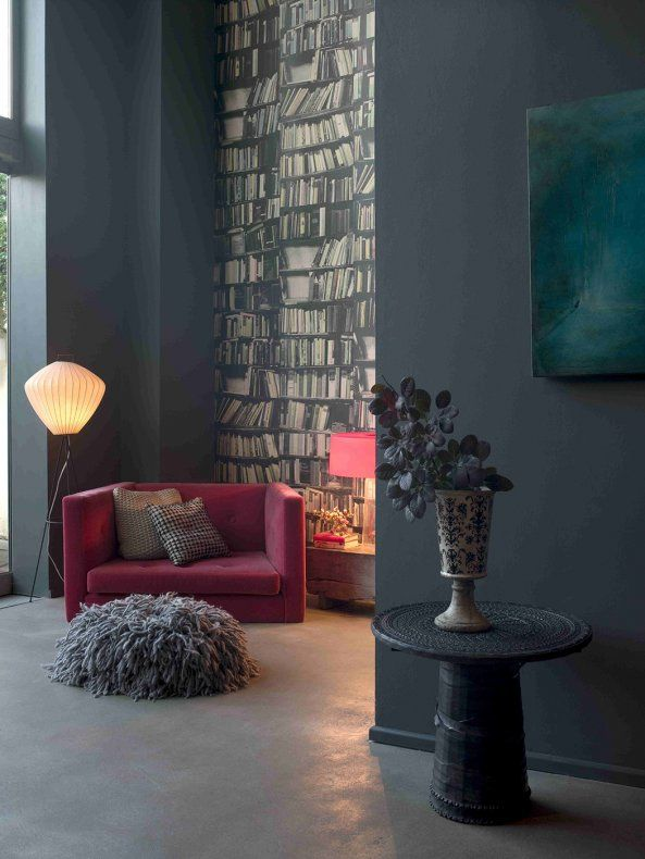 Un salon esprit contemporain - grey + dark pink in the living room  / for more inspiration visit http://pinterest.com/franpestel/boards/