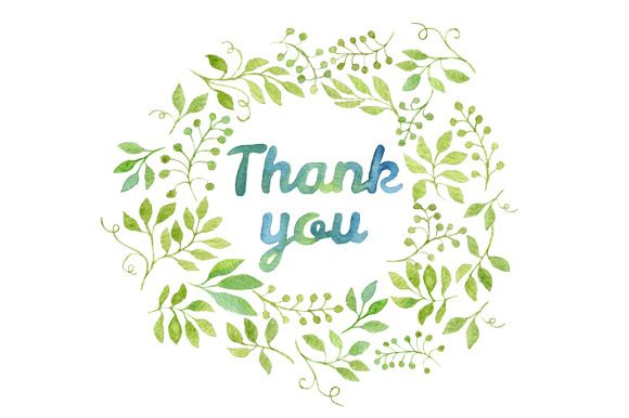 Thank you in leaves wreath by Helga Wigandt on Creative Market