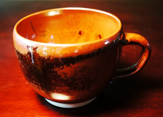 Brown and black designed small mug by kthompson5 on Etsy, $15.00
