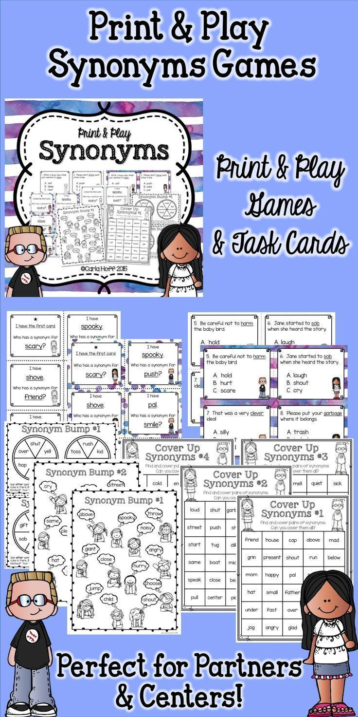 Fun and effective practice for synonyms! Task cards plus  print & play practice games!  Easy prep!