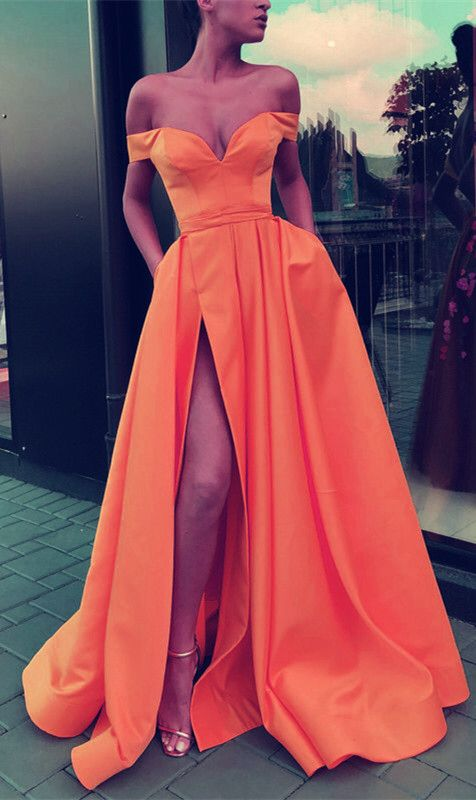1e692447ed Sexy Split Prom Dresses Long Satin Off Shoulder Evening Gowns in ...