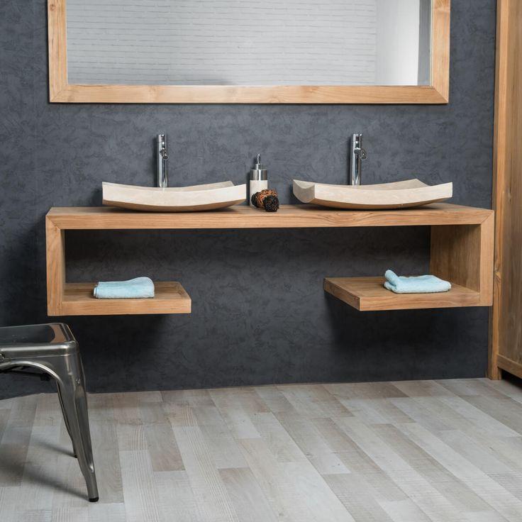 Raffinement et élégance sont au rendez-vous avec le meuble suspendu en teck Pure 160. Jouez la carte de la simplicité et de la sobriété en choisissant ce meuble pour votre salle d'eau. Le bois teck résistant à l'humidité apporte une touche de chaleur dans votre pièce.
