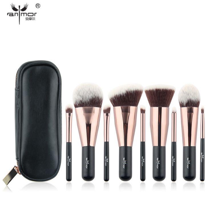 Travel 9 pcs Makeup Brush Set Synthetic Mini Makeup Brushes Case Rose Gold Black #PINK