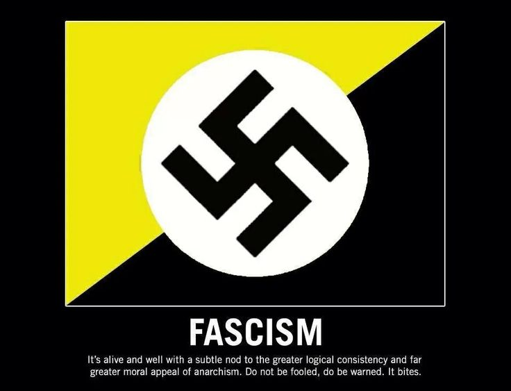 """Anarcho""-capitalism=fascism. National ""anarchism""=fascism. Whatever your yellow and black stands for, it sure isn't anarchism!"