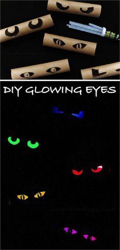 DIY Glowing Eyes Tutorial - 19 Budget-Friendly DIY Kids Halloween Party Ideas
