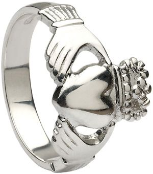 IrishJewelryOnline.com: Mens 14k White Gold Heavy Claddagh Ring