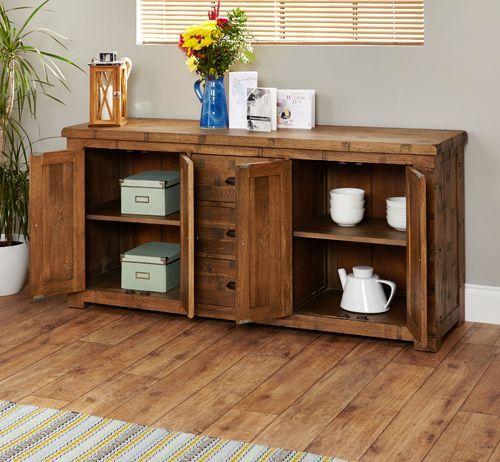 Rough Sawn Oak Large Sideboard  #wood #oak #furniture #sideboard #table #storage #home #interior #decor #livingroom #lounge #bedroom #hallway #bedroom