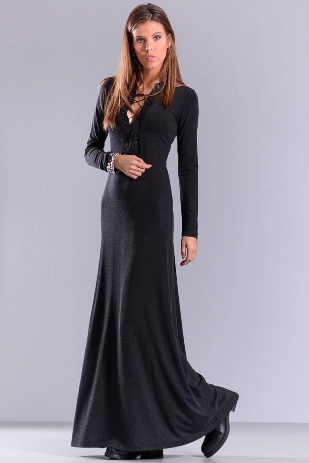 Μαύρο μάξι φόρεμα με δέσιμο μπροστά και μακρύ μανίκι