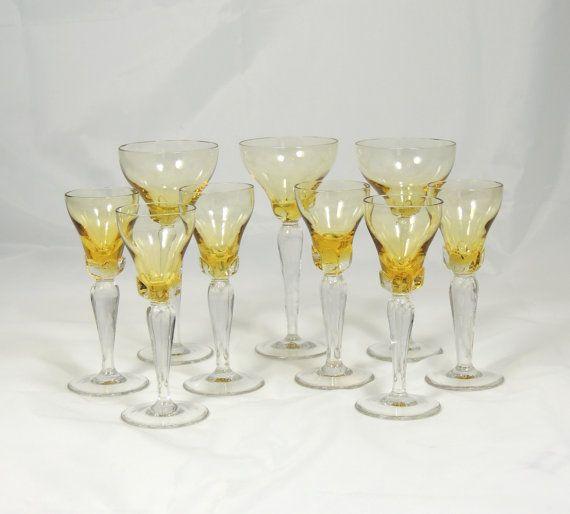 Amber Long Stem Wine Glasses 9 Glasses by SimplyCharmingukshop