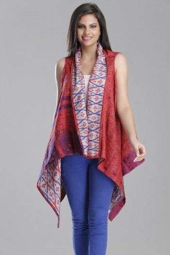 Reversible Red & Light Grey Up-Cycled Silk Saree Shrug With Ikat & All-Over Kantha Detailing