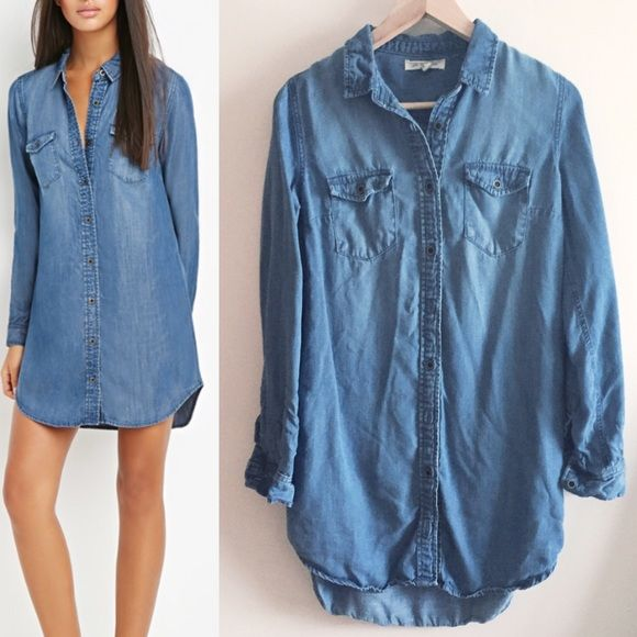 "Chambray shirt dress long button down Worn once or twice but it runs a little big so it's too loose on me. Medium denim color. Excellent condition, like new. About 31"" long. 17.5"" flat across. Forever 21/Life in Progress. Forever 21 Tops Button Down Shirts"