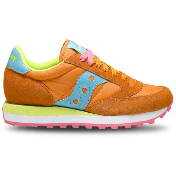 Woman Sneakers Jazz O Orange Bright Blue ($94) ❤ liked on Polyvore featuring shoes, sneakers, womenshoessneakers, neon pink sneakers, orange sneakers, saucony trainers, summer sneakers and neon pink shoes
