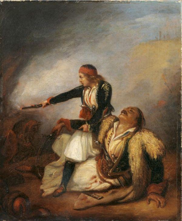 Άγνωστος, (19ος αιώνας) [με βάση έργο του Ary Scheffer (1795-1858)]Ελληνόπουλο υπερασπίζεται τον πατέρα του