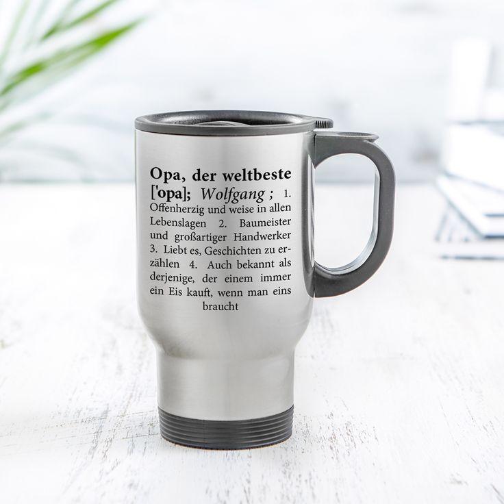Praktisch, aber vor allem ein liebevolles Geschenk: Unser Thermobecher bedruckt - Definition Opa - Personalisiert ist ein schönes Geschenk für alle Großväter, die Kaffee unterwegs mögen.