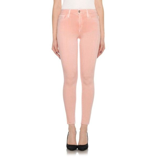 Women's Joe's Charlie High Waist Ankle Skinny Jeans ($168) ❤ liked on Polyvore featuring jeans, sea shell pink, high waisted jeans, pink jeans, high-waisted skinny jeans, high waisted red skinny jeans and red high waisted jeans