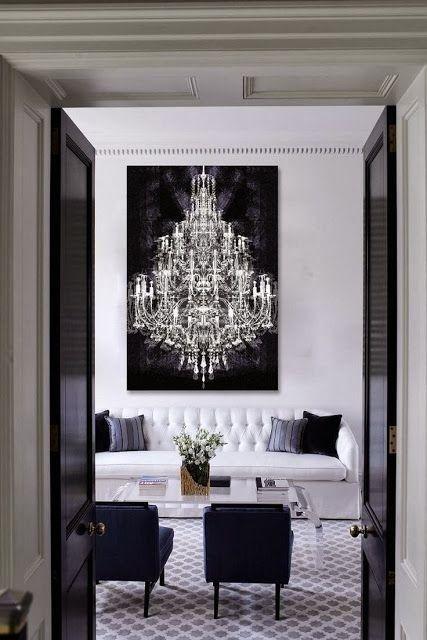 decadent, glamorous black and white living room