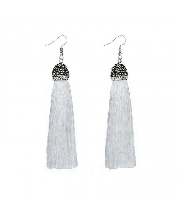 Women Girl Fashion Rhinestone Long Tassel Dangle Earrings Fringe Drop Earrings* Beads & Jewelry Making