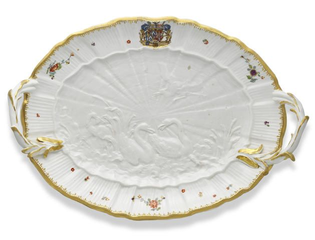 Meissen tray, circa 1742, from the Swan Service, which was ordered in 1736 for the director of the Meissen manufactory, Heinrich Graf von Brühl (1700-1763).  $112,874.