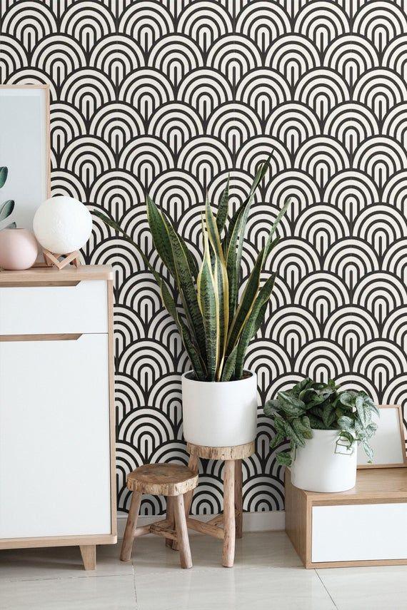 Wallpaper Art Deco Peel And Stick Geometric Wallpaper Mural Self Adhes In 2021 Wallpaper Accent Wall Bathroom Geometric Removable Wallpaper Black Wallpaper Living Room
