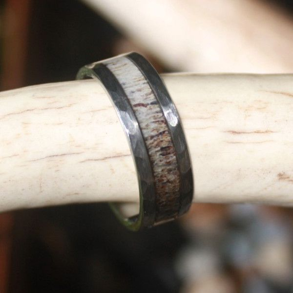 Black Tungsten Antler Ring With Hammered Edge Color Natural Grain