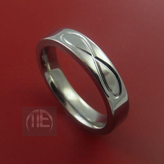 Titanium INFINITY Band Womens Wedding Ring Black Custom