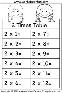 Times Tables Worksheets – 2, 3, 4, 5, 6, 7, 8, 9, 10, 11 and 12 – Eleven Worksheets