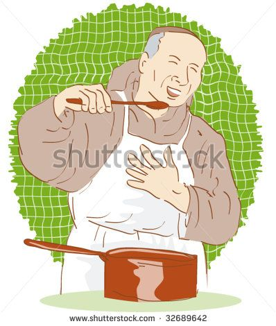 Friar cook tasting his prepared meal - stock vector #cook #retro #illustration