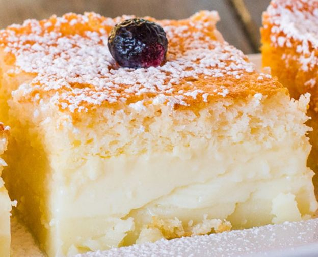Magic Cake ~ 1 Batter 3 Layers Ingredients 4 eggs (separate yolks from whites) at room temperature 1 tsp vanilla extract 150 g (3/4 cup) sugar 125 g (1 stick or ½ cup) butter, melted 115 g (…