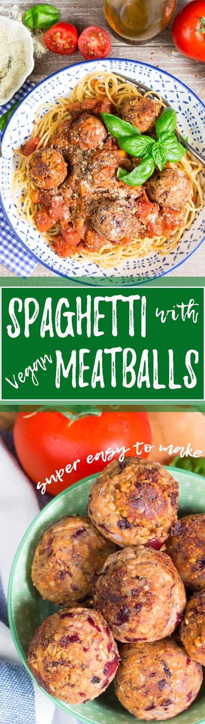 These spaghetti with vegan meatballs are one of the best vegan pasta dishes I've ever had!! And you won't believe how easy the recipe is! It only takes 30 minutes to make. <3 | veganheaven.org