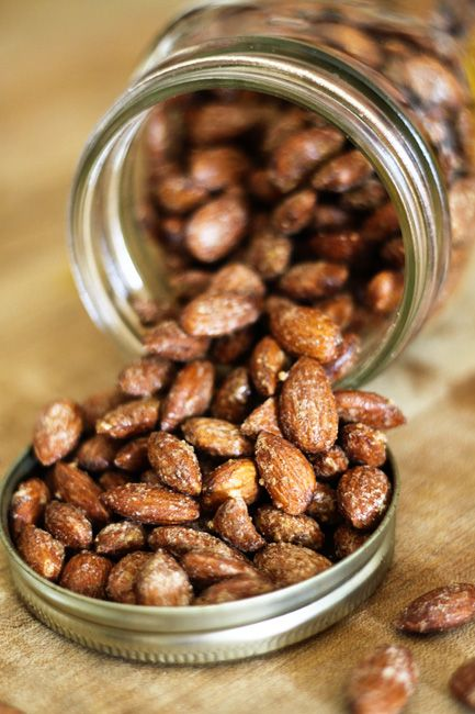 Maple Cinnamon Candied Almonds from Foodie with Family -- Use coconut palm sugar instead of granulated sugar for Primal.