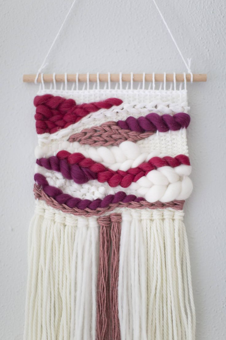 Boysenberry Curves wall hanging Weave RTS hand woven wall hanging tapestry by MarquisWeaves on Etsy