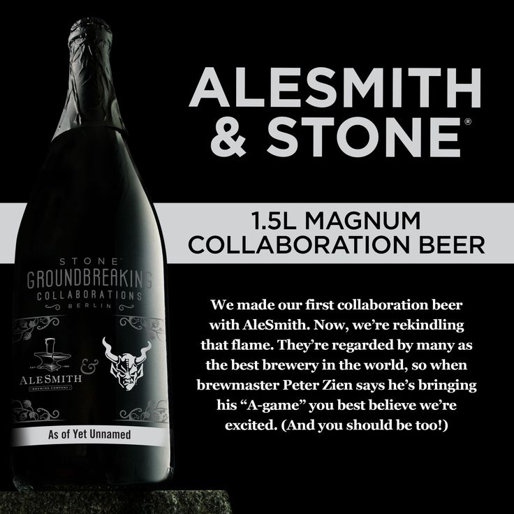 """Our newest Stone Groundbreaking Collaboration #beer, a joint-effort with renowned AleSmith Brewing Company, is NOW AVAILABLE on our Indiegogo campaign page. Brewmaster Peter Zien says he's bringing his """"A-game!"""" #craftbeer"""