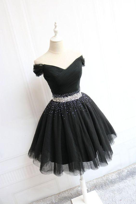 Black Tulle Off Shoulder Short Prom Dress, Black Homecoming Dress