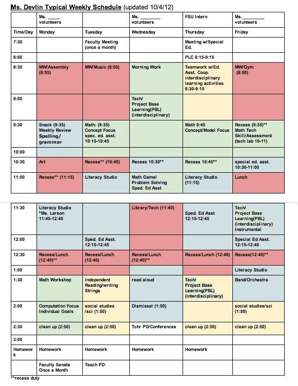elementary classroom schedule template